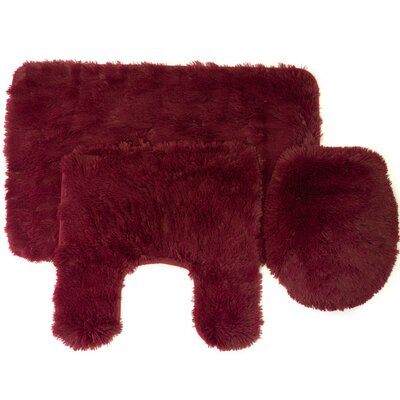 Kurland Fluff 3 Piece Bath Rug Set Color: Burgundy