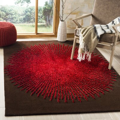 Olivarria Hand-Tufted Brown/Red Area Rug Rug Size: Round 6