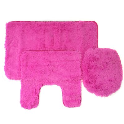 Kurland Fluff 3 Piece Bath Rug Set Color: Fuchsia