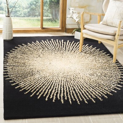 Olivarria Hand-Tufted Black/Beige Area Rug Rug Size: Rectangle 36 x 56