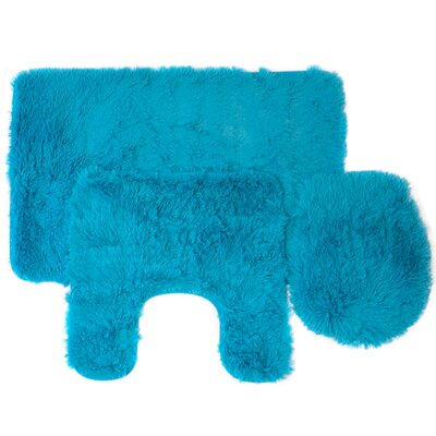 Kurland Fluff 3 Piece Bath Rug Set Color: Turquoise