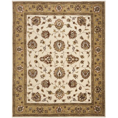 Cloverdale Hand-Hooked Ivory/Beige Area Rug Rug Size: Rectangle 3 x 5