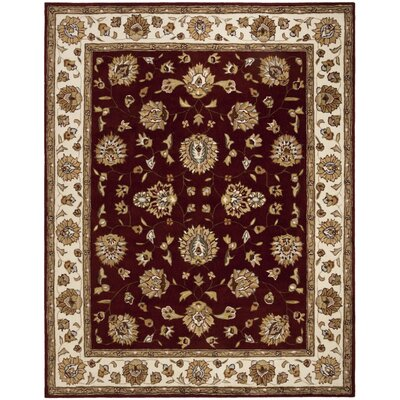 Cloverdale Hand-Hooked Burgundy Area Rug Rug Size: Rectangle 23 x 9