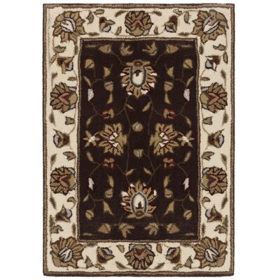 Cloverdale Hand-Hooked Brown/Ivory Area Rug Rug Size: Rectangle 3 x 5
