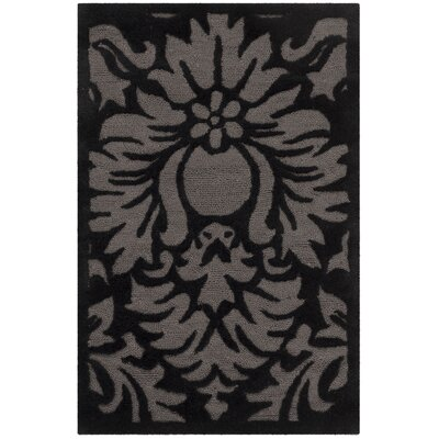 Kuhlman Hand-Hooked Black Area Rug Rug Size: Rectangle 9 x 12