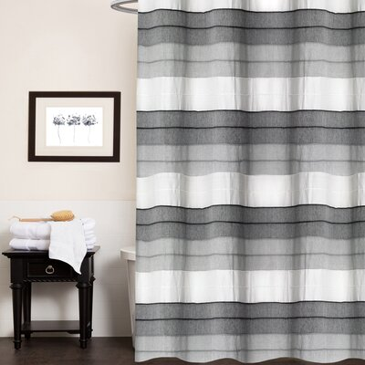 Croll Hellen Fabric Striped 100% Cotton Shower Curtain Color: Charcoal