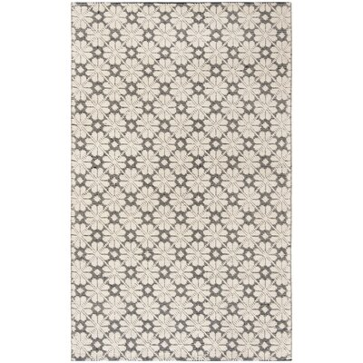 Kelton Hand-Woven Wool Ivory/Black Area Rug Rug Size: Rectangle 5 x 8