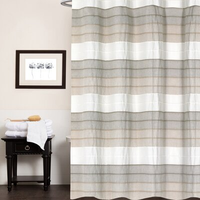 Croll Hellen Fabric Striped 100% Cotton Shower Curtain Color: Tan