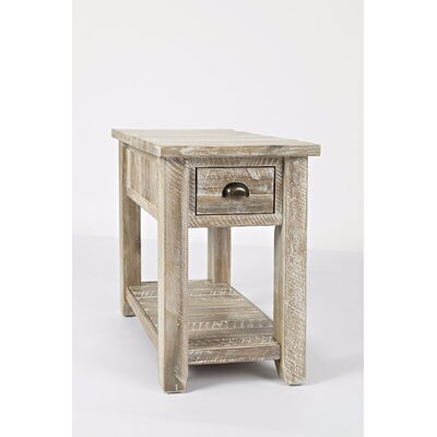 Redd End Table with Storage Color: Washed Gray