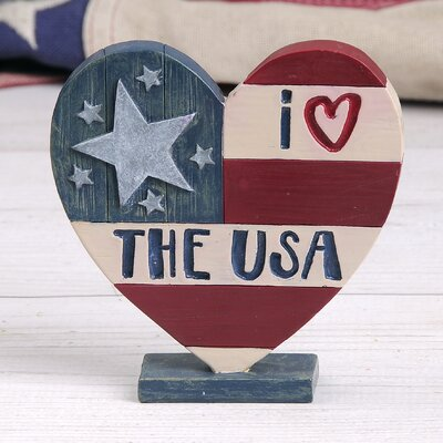 Edford Love Usa Heart on Base Sculpture 25C9EA181A2D4C05862311836BFBA61A