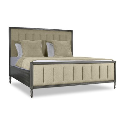 Faisan Vertical Channel Tufting Upholstered Panel Bed Color: Sand, Size: King