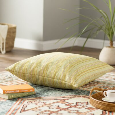 Adelheid Stripes Floor Pillow Color: Gold/Green