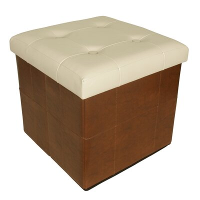 Whitten Collapsible Seat Storage Ottoman Finish: Brown/White