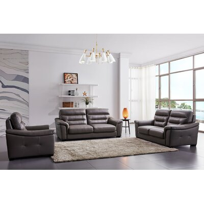 Koerner 3 Piece Leather Living Room Set