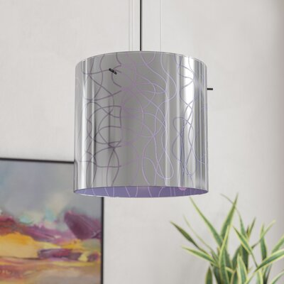 William 1-Light Drum Pendant Finish: Bronze, Shade Color: Purple