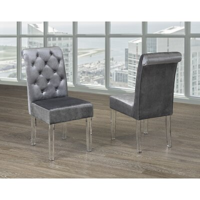 Neville Upholstered Dining Chair Upholstery Color: Gray