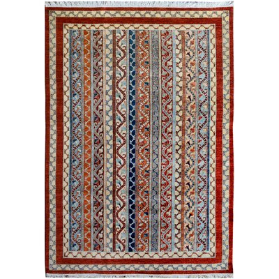 One-of-a-Kind OConnor Hand-Knotted Wool Red/Blue Area Rug