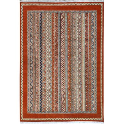 One-of-a-Kind OConnor Hand-Knotted Wool Rust/Blue Area Rug