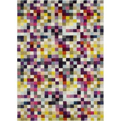 Glenmore Pixel Inspired Yellow/Purple Area Rug Rug Size: Rectangle 8 x 10
