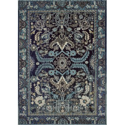 Feldmann Persian Inspired Blue Area Rug Rug Size: Rectangle 5 x 7