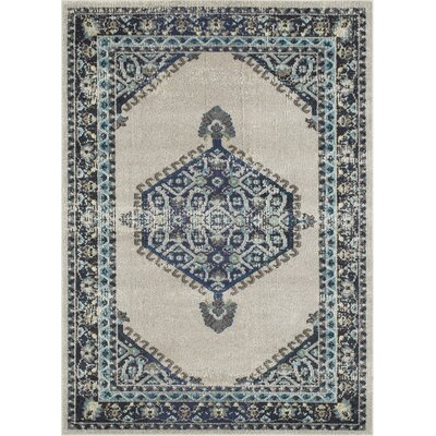Feldmann Persian Inspired Beige/Blue Area Rug Rug Size: Rectangle 5 x 7