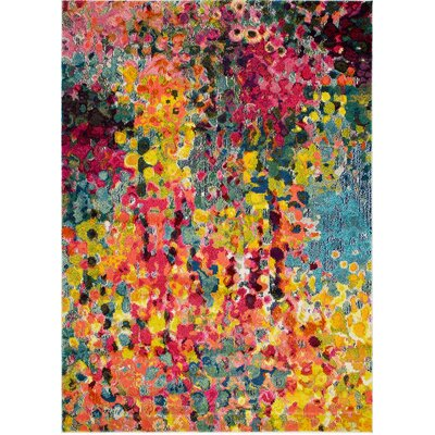 Victorine Impressionist Inspired Yellow/Pink Area Rug Rug Size: Rectangle 5 x 7