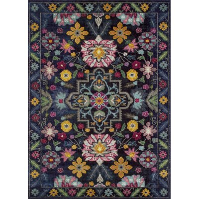 Feldmann Floral Inspired Pink/Yellow Area Rug Rug Size: Rectangle 5 x 7