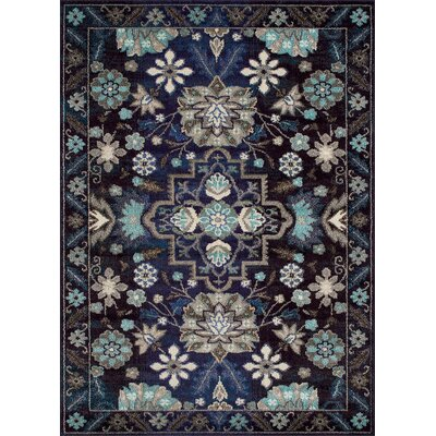 Feldmann Persian Inspired Storm Blue Area Rug Rug Size: Rectangle 5 x 7
