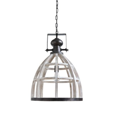 Mascher Wood and Metal 1-Light Inverted Pendant