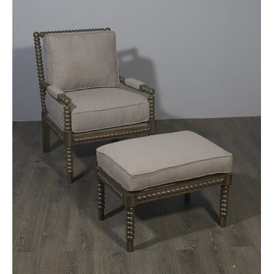 Ellicott Armchair and Ottoman Upholstery: Gray