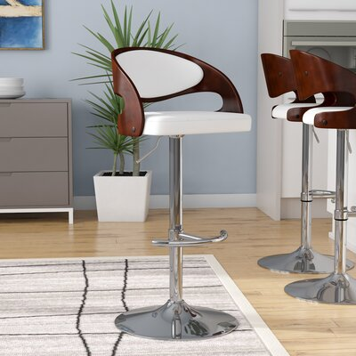Lanesboro Adjustable Height Swivel Bar Stool Upholstery: Cherry / White