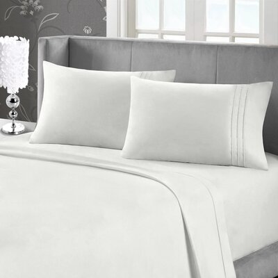 Eisenhart Bamboo Feel Embroidered Sheet Set Size: Twin, Color: Silver