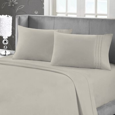 Eisenhart Bamboo Feel Embroidered Sheet Set Size: Twin, Color: Linen