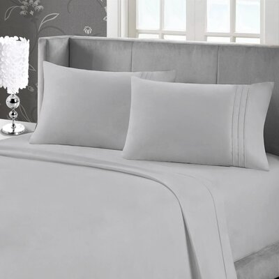 Eisenhart Soft Touch Embroidered Sheet Set Size: Queen, Color: Charcoal