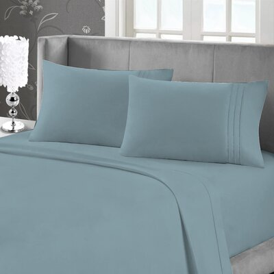 Eisenhart Soft Touch Embroidered Sheet Set Size: King, Color: Teal