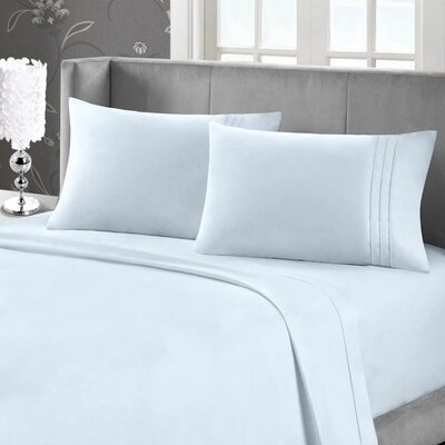 Eisenhart Bamboo Feel Embroidered Sheet Set Size: Queen, Color: Ice Blue