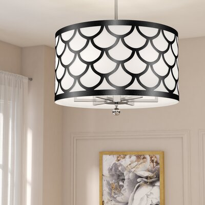 Piper 6-Light LED Drum Chandelier Shade Color: Black/White