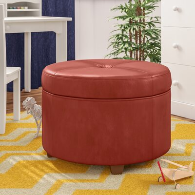 Salvatore Large Round Storage Ottoman Upholstery: Cinnamon Red