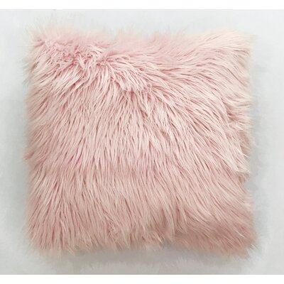 Krogman Faux Fur Throw Pillow Color: Pink