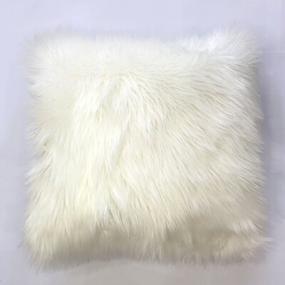 Krogman Faux Fur Throw Pillow Color: Ivory