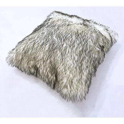 Krogman Faux Fur Throw Pillow Color: White/Gray