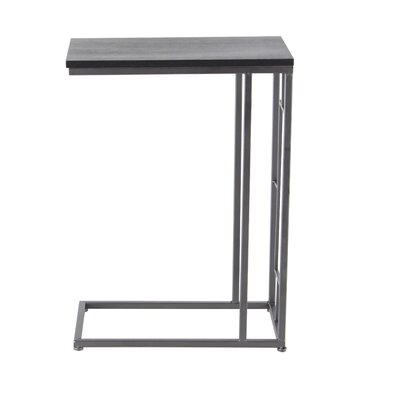 Metal End Table Table Top Color: Brown, Table Base Color: White