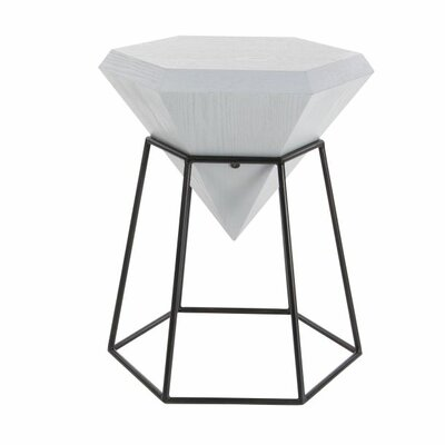 Metal Diamond End Table Table Top Color: Off-White