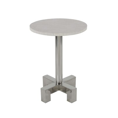 Shupe Stainless Steel Round End Table Table Top Color: White
