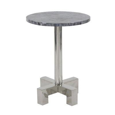 Shupe Stainless Steel Round End Table Table Top Color: Black