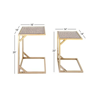 Ormond Rustic 2 Piece Nesting Tables Color: Gold