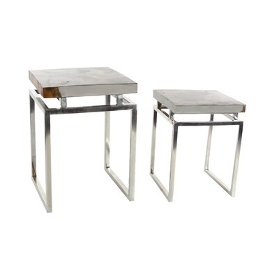 2 Piece End Table Set Finish: Brown/White