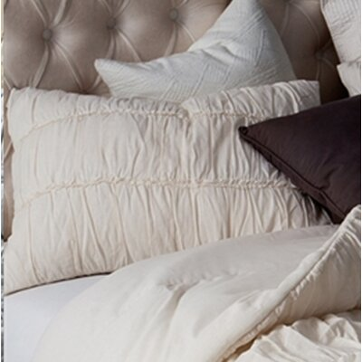 Krouse Cotton Lace Textured Sham Size: King, Color: Off White