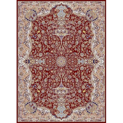 Machen Persian Wool Red Area Rug Rug Size: Rectangle 5'3