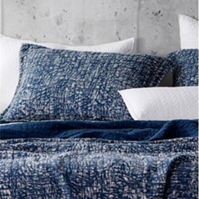 Flippen Filter Stone Washed Cotton Sham Size: King, Color: Navy